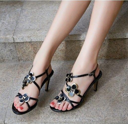 rhineston back strap flower high heel sandals