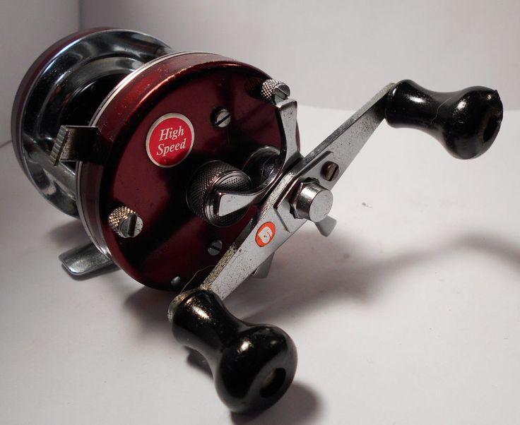 Vintage brown abu garcia ambassadeur 5500 baitcasting bass for Bass fishing gear