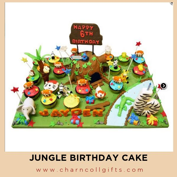 Jungle Birthday Cake | Perfect theme for your children Birthday party | Order now : www.charncollgifts.com | +6221-7509476 / +6221-7197234 #Cake #Birthday #Party #Jungle