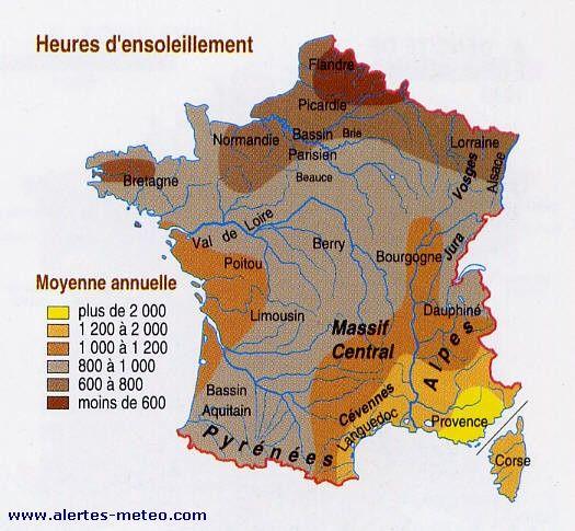 Carte des heures d'ensoleillement par an en France - www.alertes-meteo.com