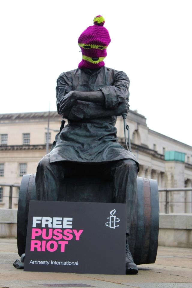 Amnesty international has recruited some of belfasts best known statues to stage a virtual demonstration in solidarity with jailed punk group pussy riot