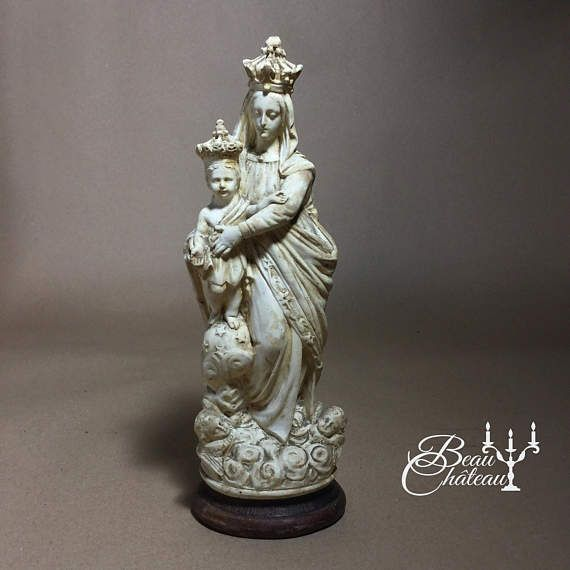 Absolutely Beautiful Vintage French Chalkware Plaster Statue Mary Jesus Child Vintage Antique Holy Sculpture