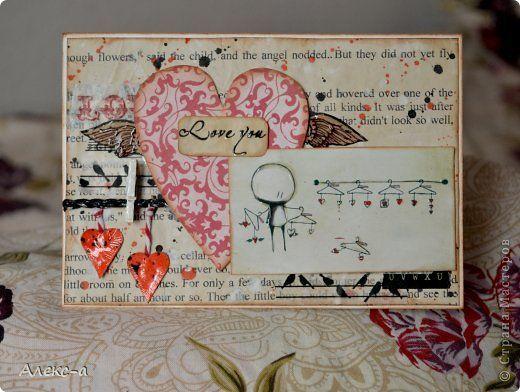Открытка Скрапбукинг Валентинов день Аппликация Открытки на день святого валентина Бумага Краска фото 1