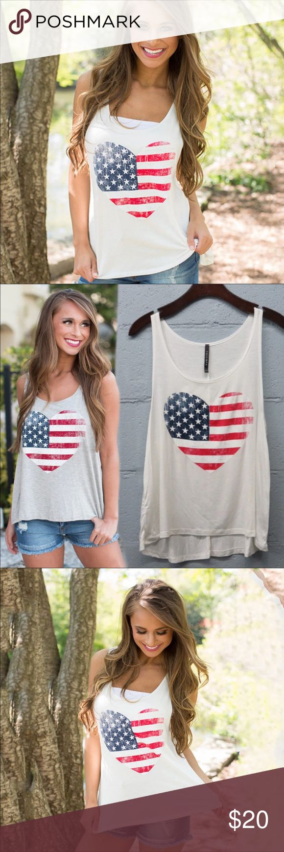 🐎PUT YOUR COWBOY BOOTS ON PATRIOTIC TANK-hot!🐎 Several sizes available tank top white with American flag in heart design-terialCotton Fabric TypeBroadcloth Tops TypeTank Tops DecorationNone Clothing LengthRegular Item TypeTops Descriptions  Size BustLength cminchescminches S8232.28 5521.65  M8633.86 5622.05  L9035.43 5722.44  XL9437.01 5822.83 Tops Tank Tops