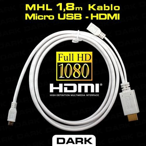 Dark 1.8m MHL 5Pin MicroUSB-HDMI Dönüştürücü (microUSB Erkek -HDMI Dişi) ::