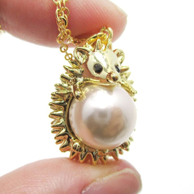 22 best images about hedgehogs on pinterest snails hedgehogs hedgehog porcupine hugging a pearl shaped animal pendant necklace in gold mozeypictures Images