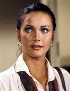 Lynda Carter, high pony tails and warm makeup was a popular 70s look--Wonder Woman