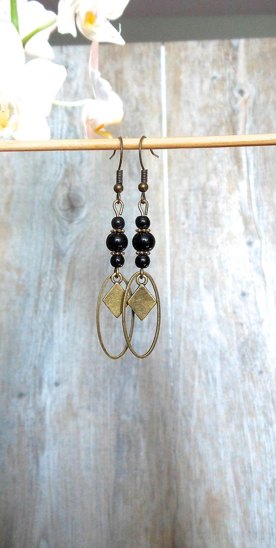 boucles d'oreilles noires,anneaux et perles noires,modernes,bronze,ovales,sequins breloques losanges