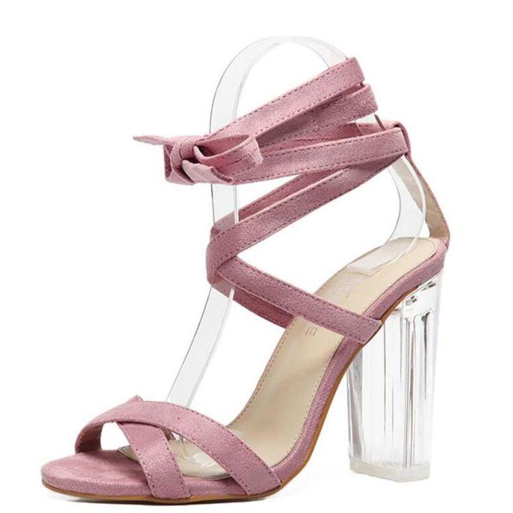 Sandalias de Color Rosa Tacones Altos Zapato con Cierre de Plexiglás Clear Crystal Conciso Strappy Lace Up