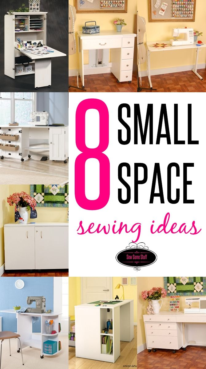 8 Small Space Sewing Areas on sewsomestuff.com. Struggling to find a perfect way to make space for your sewing? Look no more. In this post I have shared EIGHT different ideas to turn a small corner into a SEWING RETREAT. Find out more details on the blog NOW!