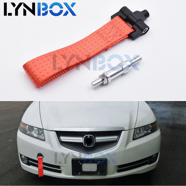 Blue Racing Tow Strap Set Trailer Rope for Front Rear Bumper Towing Hook High Strength Decorative Brand Marker