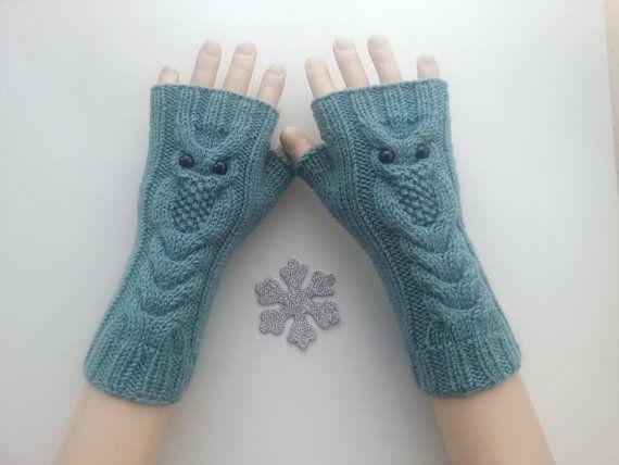 UITDRUKKELIJKE SHİPPİNG! Azuurblauwe kleur Owl Hand-gebreide Vingerloze handschoenen/Winter accessoires/ReyyanCrochet