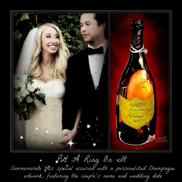 Unique wedding gift, order this artwork of a champagne bottle personalize with the couple's name and wedding date on the label. This fine art reproduction on canvas is the perfect gist to commemorate weddings and anniversaries. Order now www.artistwells.com