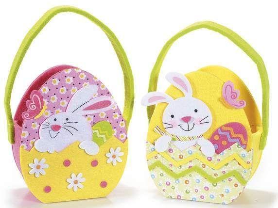 Borsetta in panno a uovo con coniglio porta ovetti dolcetti idea regalo Pasqua