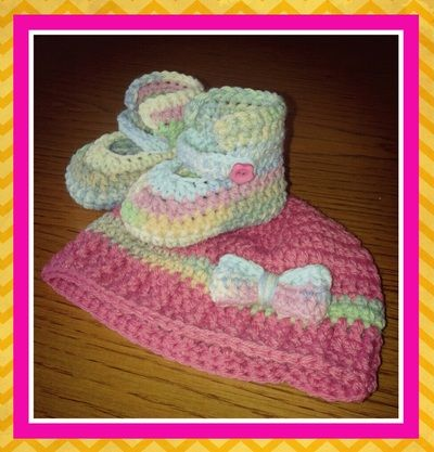 Crochet Bamboo Soft Baby hat & booties set Gallery Thing-a-ma-bobs