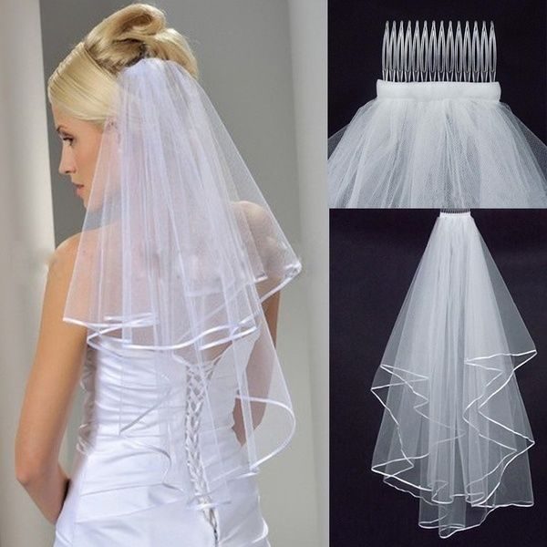 Women/'s 2T Short Tulle Bridal Wedding Veil Satin Edge With Comb Elbow Prom Bride