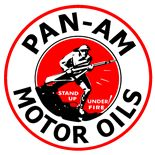 Pan American Motor Oil logo, once the largest oil company of America. Brought down by the Teapot Dome scandal