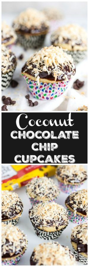 #AD These Toasted Coconut Chocolate Chip Cupcakes are light and fluffy and perfect for spring parties and holidays! They are made with coconut milk and chocolate chips, topped with a rich coconut chocolate ganache, and finished with toasted coconut flakes. This simple dessert recipe is made from scratch. I love a good homemade dessert. Learn how I use @NestleTollHouse morsels to create this sweet treat! #SpringJustGotSweeter #cupcakes #coconut #chocolate
