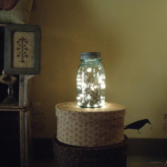 Country Primitive, Christmas decor, vintage Christmas, Mason Jar light, mason jar lantern, Farmhouse kitchen, rustic night light on Etsy, $22.00
