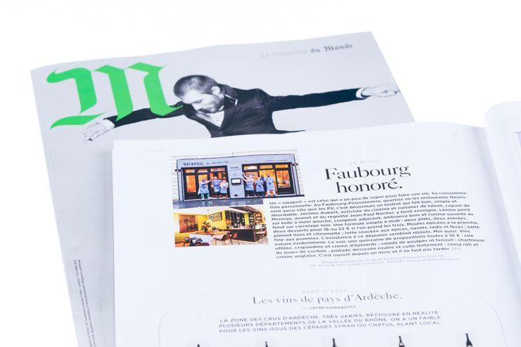 "M Le magazine du Monde Following the recent opening of the restaurant ""RATAPOIL du Faubourg"" of the chef Jérôme Aubert at Paris 72 rue du Faubourg Poissonnière, very nice article written by J.P. Gené in the magazine ""M Le magazine du Monde"" #160 dated october 11th, 2014, with my pictures. Photo © Eric Valdenaire http://ericvaldenaire.com"