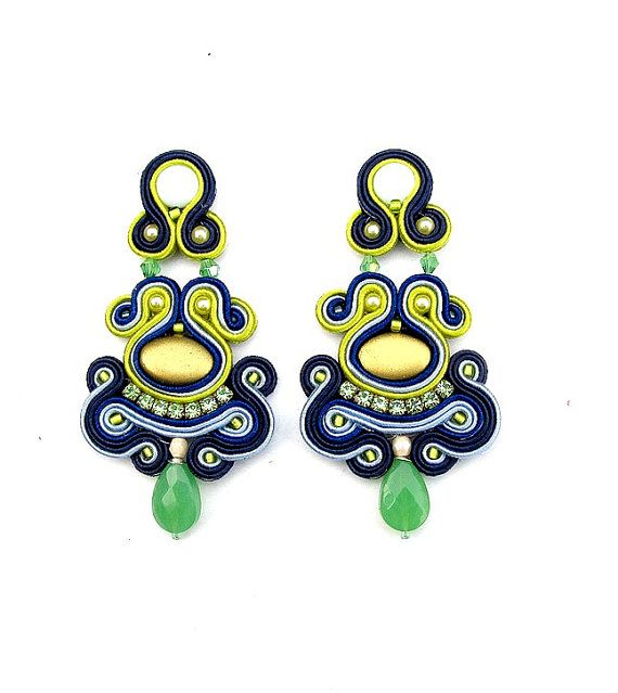 ClipOn Dangle Earrings Soutache Earrings Nautical by StudioGianna