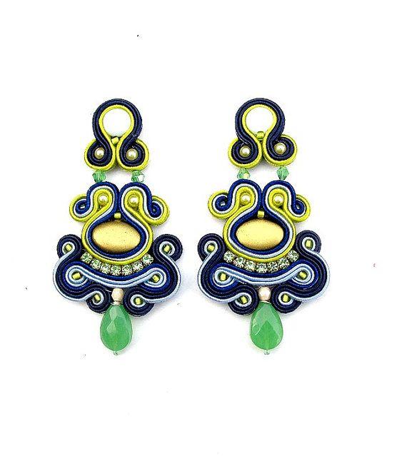 ClipOn Dangle Earrings Soutache Earrings Nautical by StudioGianna