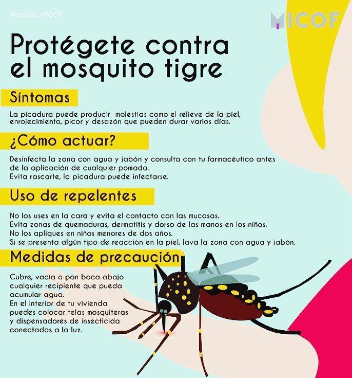 Unos consejitos del colegio para hacer frente a nuestros molestos amigos los mosquitos tigre... #farmaciapuchades #mosquitotigre #consejosmicof