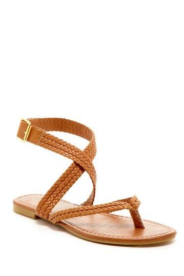 Bucco Thong Mock Strap Braided Crisscross Sandal