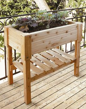 Rectangular cedar raised planter bed for container gardening - Love the idea would be simple to diy