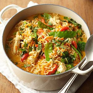 With chicken, vegetables, and noodles, this dinner recipe is a complete meal.