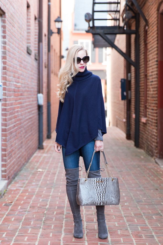 { Classic Cashmere: Turtleneck poncho, Embossed tote & Gray suede boots }