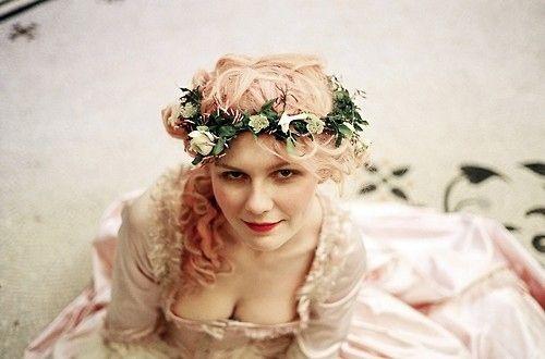 vintagesusie & wings  Marie Antoinette: Hair Flowers, Kirsten Dunst, Pink Hair, Pinkhair, Flowers Crowns, Sofia Coppola, Mary Antoinette, Sofiacoppola