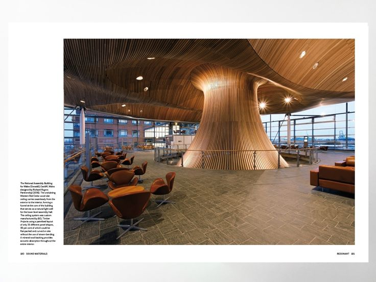The National Assembly Building for Wales (Senedd), Cardiff, designed by Richard Rogers Partnership (2005). Pre-order new book Sound Materials to get 20% discount - News - Frameweb