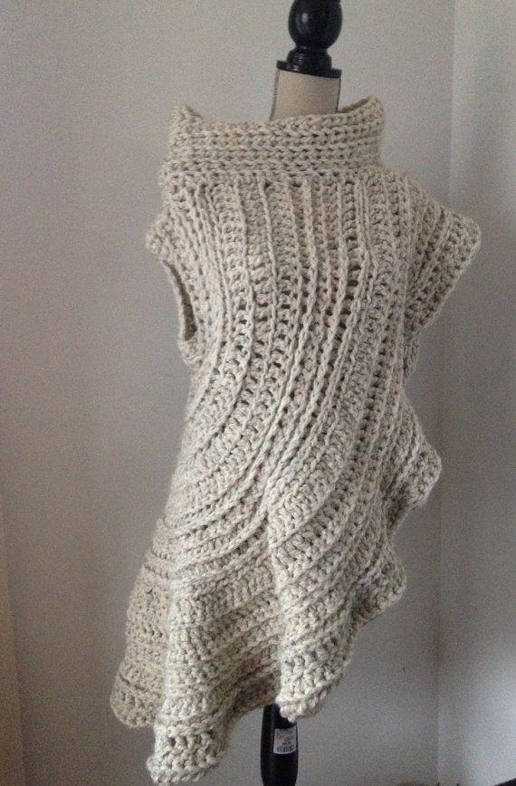 Crochet sweater crochet poncho crochet shawl by Pamplemoussekelly