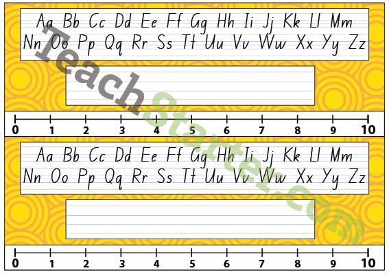 Lower Grade Desk Plate - Swirls - Yellow | Teach Starter - Teaching Resources