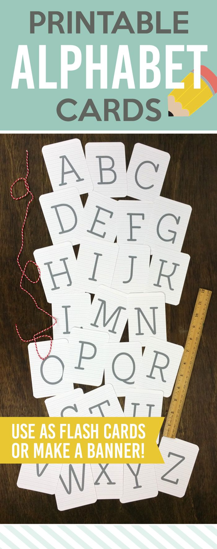 Printable Alphabet Cards - Perfect for games, the classroom, crafts, gifts and more! Paperelli for Lolly Jane