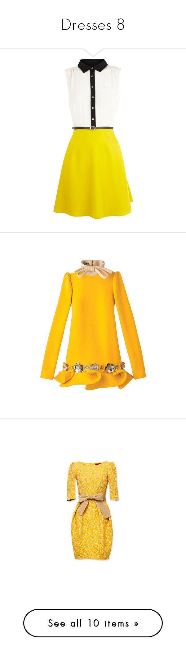 """""""Dresses 8"""" by vicipokemon ❤ liked on Polyvore featuring dresses, vestidos, yellow, short dresses, women, button-down shirt dresses, shirt dress, yellow dress, flared skirt and circle skirt"""