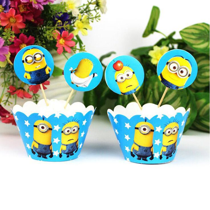 24Pc Minions cupcake wrapper and topper for kids birthday event party 2018 Cups #Unbranded #Party