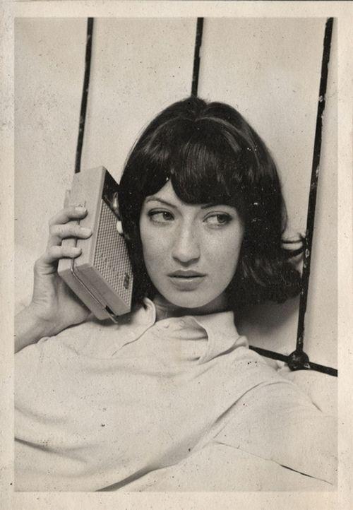 Sixties. Girl and radio.