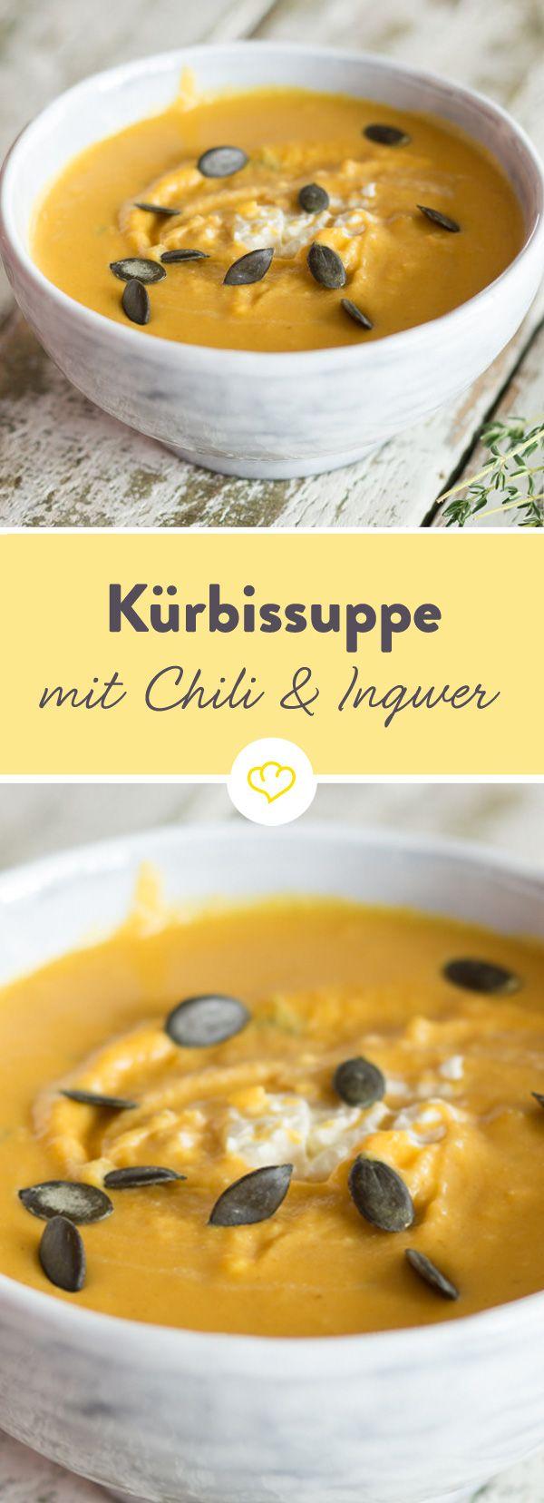 Lust auf cremige Kürbissuppe? Chili und Ingwer verleihen dieser pikanten Variante feine Schärfe. Geröstete Kürbiskerne sorgen für ein wenig Crunch.