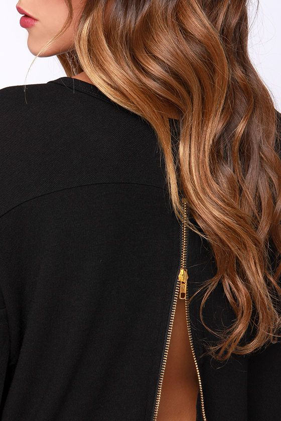 Black Sweater Zipper Back Top