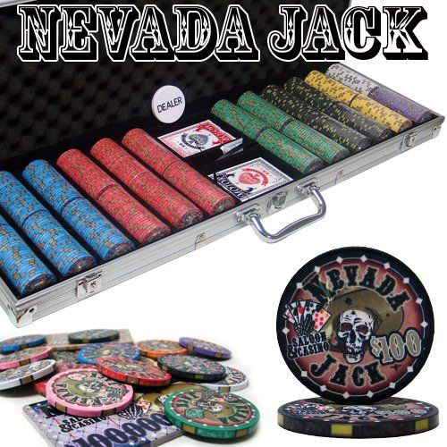 Man Cave- 600 Ct Nevada Jack 10 Gram Ceramic Poker Chip Set w/ Aluminum Case by…