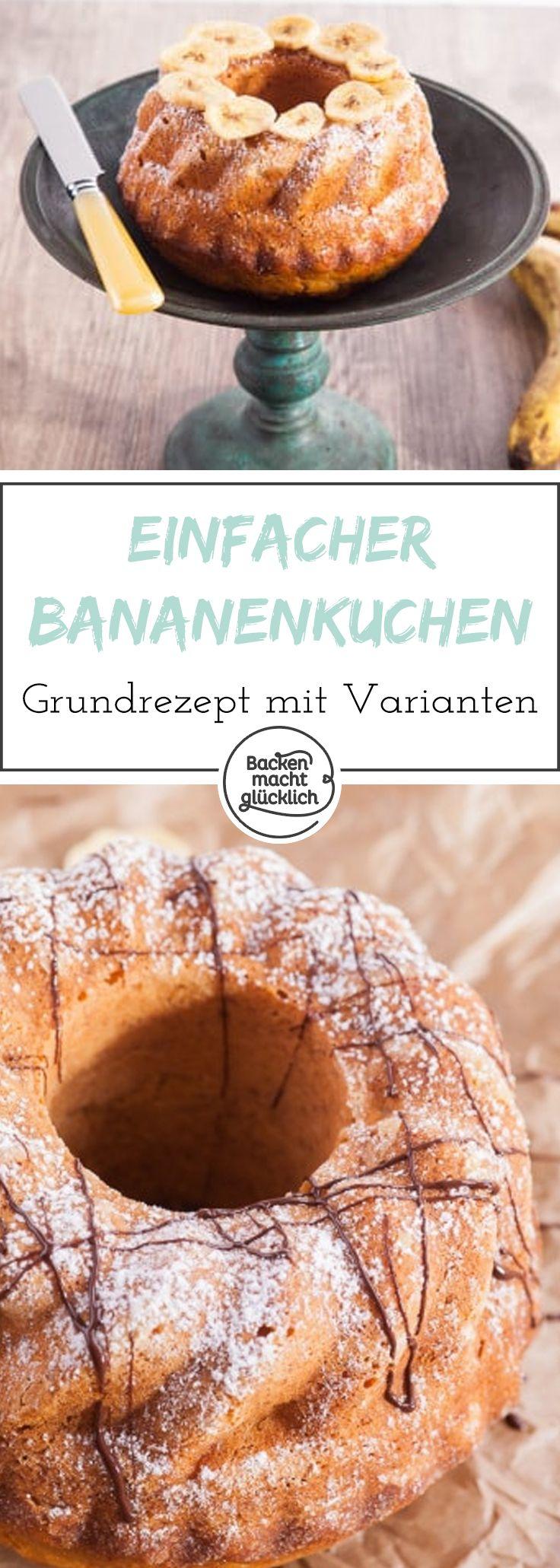 Dieses Bananenkuchen-Grundrezept ist kinderleicht und super lecker. Der einfache Bananen-Rührkuchen lässt sich gut abwandeln - z.B. mit Nüssen, Schokolade oder Gewürzen.