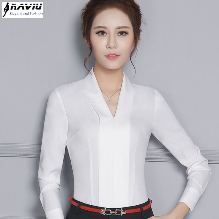 More Detailed Picture About New Temperament V Neck Long Sleeve White Shirt Women Ol Eleangt Formal Slim Chiffon Blouse Office Las Plus Size Work Wear