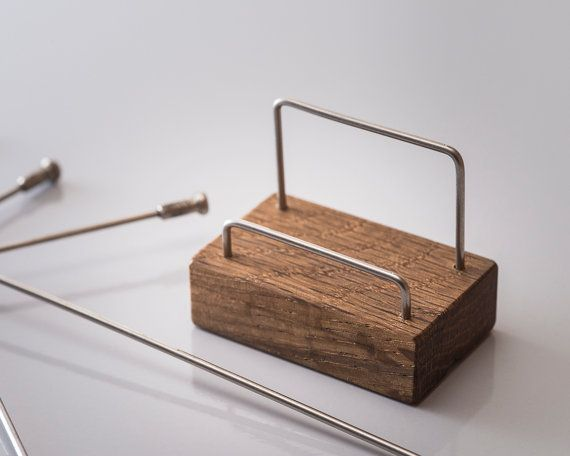 Cool wood business card holder made with bicycle spokes and reclaimed floorboards
