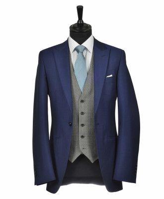 French Navy Carlton Lounge Suit with Contrast Grey Herringbone Tweed Waistcoat