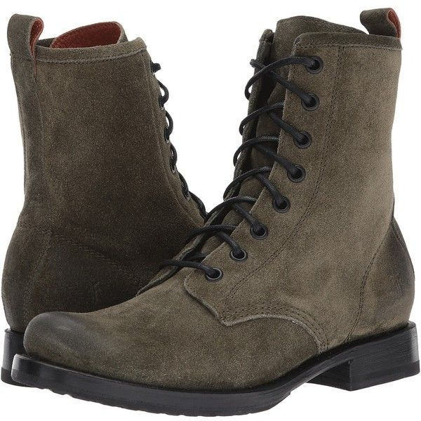 Frye Veronica Combat (Forest Soft Oiled Suede) Women's Lace-up Boots ($278) ❤ liked on Polyvore featuring shoes, boots, ankle boots, combat boots, lace up boots, combat booties, lace up ankle boots and laced up ankle boots