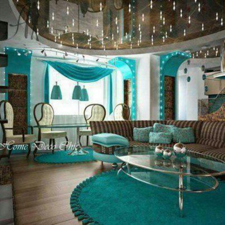 LOVE This Teal Brown Living Room