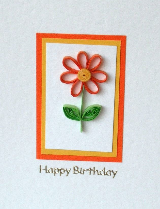 Quilled birthday card, paper daisy, quilled. Etsy.