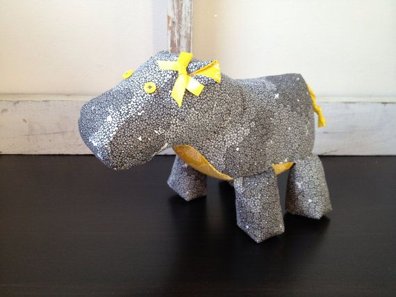 Grey and yellow plush hippo. Ecofriendly by CraftyKittyBoutique